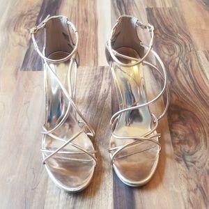 BRASH Metallic Rose Gold Strap Heels Size 7